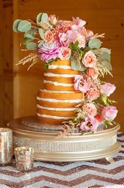 Diamond Cake Stand Champagne Round