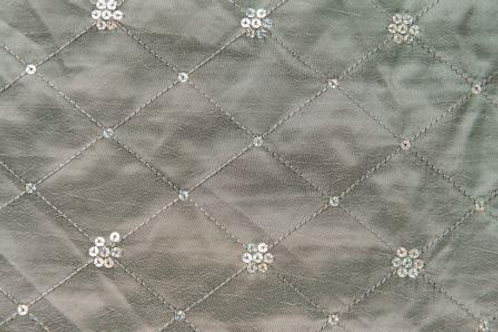 Sequin Taffeta Satin Border Silver Linen