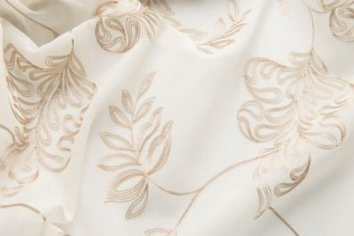 Nicolette Natural Leaf Embroidered Linens