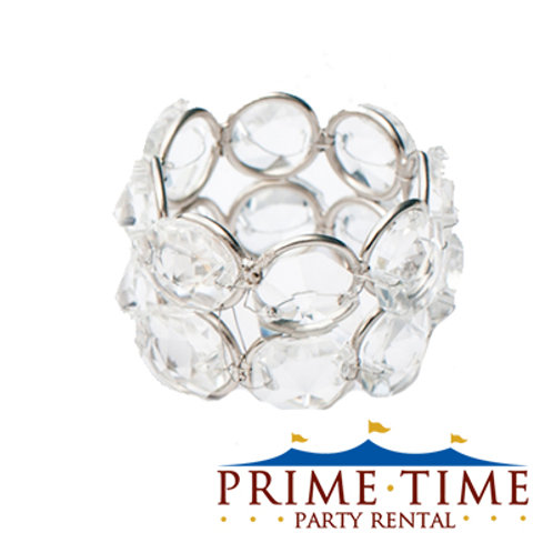 Crystal Beaded Silver Napkin Ring