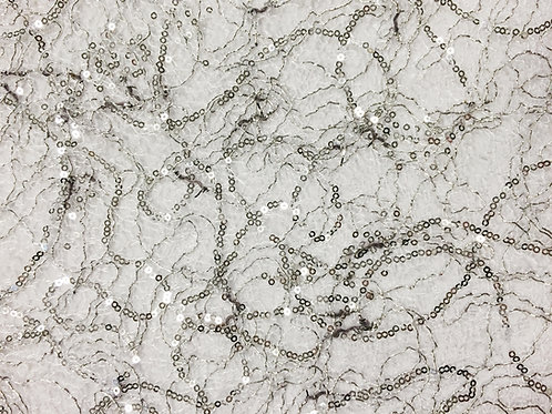 Sugar Sequins Webbed Silver Linen