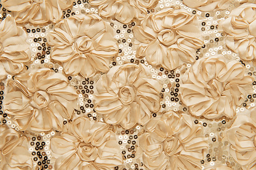 Shiny Rose Petals Gold Linens