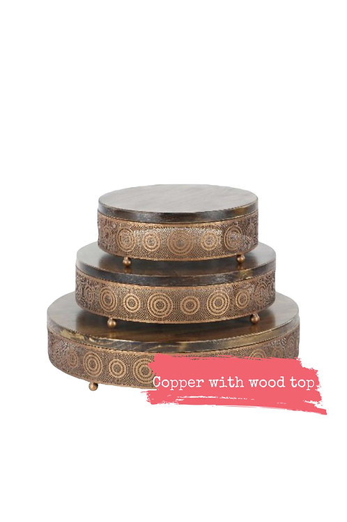 Copper Metal & Wood Cake Stand