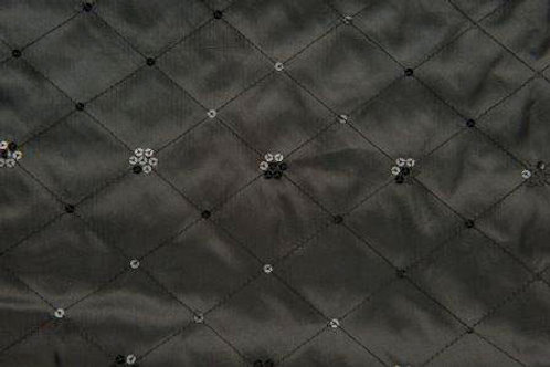 Sequin Taffeta Satin Border Black Linen