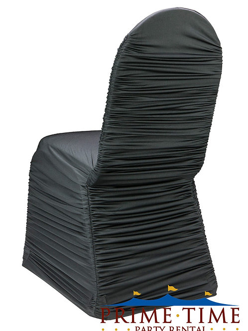 Rouched Spandex Black Chair Cover
