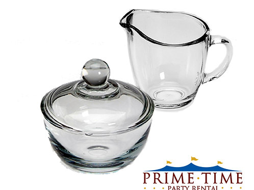 Glass Cream and Sugar Bowl