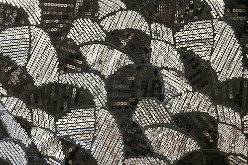 Glitter Glam Silver & Black Art Deco Linen