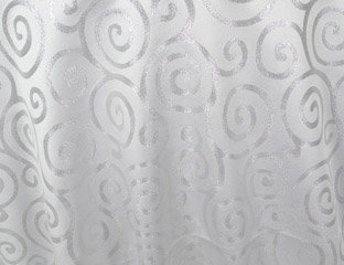Metallic Scroll White & Silver Linens