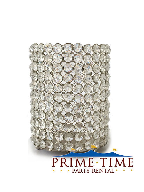 Crystal Beaded Silver Cylinder Candle Holder