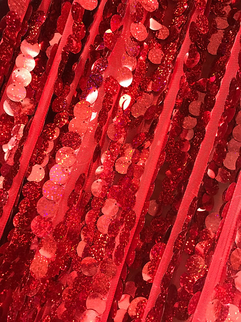 Red  Sequin Sheer Specialty Drape Panel