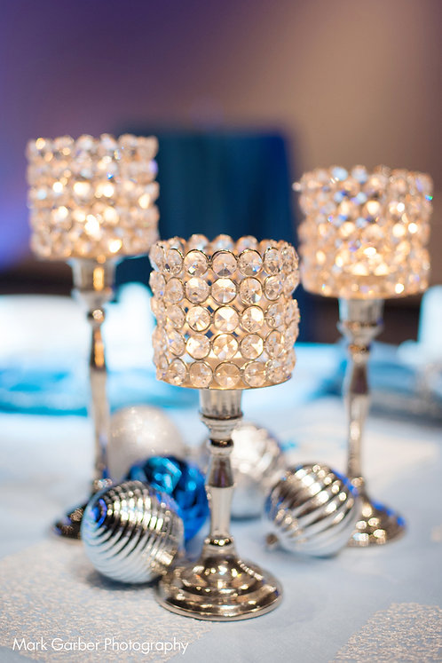 Crystal Beaded Silver Pedestal Votive Candle Holders