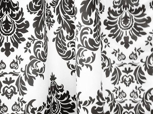 Baroque Black & White Damask Specialty Drape Panel 12'
