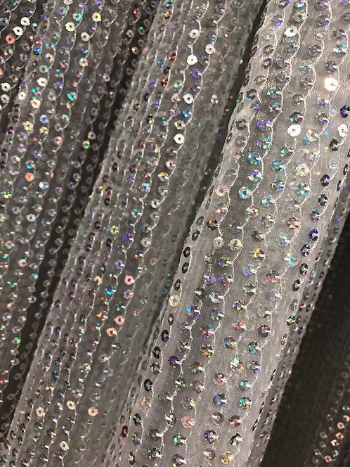 copy of White & Silver Shag Sheer Specialty Drape Panel 12'