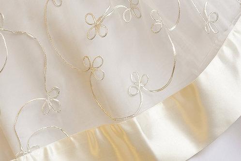 Organza Silver Ribbon Ivory Linen