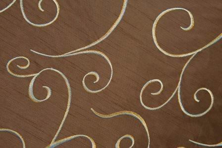 Supernova Shantung Chocolate Swirl Linen