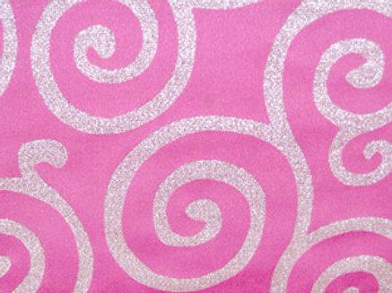 Metallic Scroll Pink & Silver Linens
