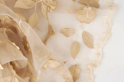 Ivy Leaves Sheer Champagne Linen