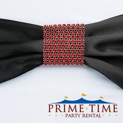 Red Mesh Rhinestone Ring
