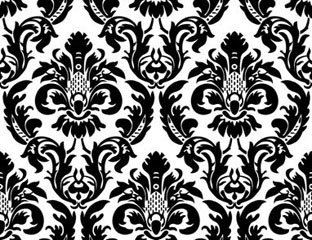 Black & White Scroll Damask Runner