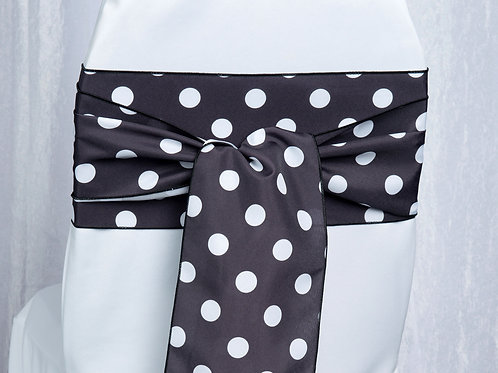 Poly Black with White Polka Dots Chair Sash