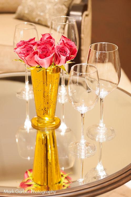 Gold Mercury Glass Candle Holder Vase