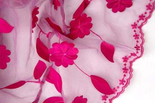 Ivy Leaves Sheer Fuchsia Linen
