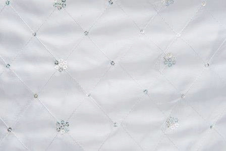 Sequin Taffeta Satin Border White Linen