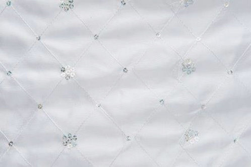 Sequin Taffeta Satin Border White Linen