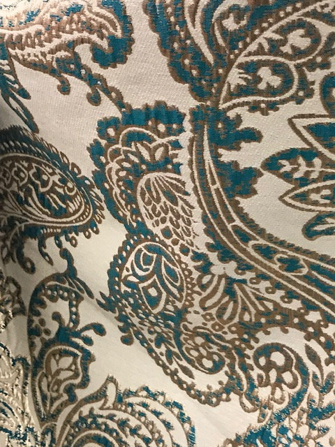 Martinique Teal & Gold Reversible Metallic Jacquard Linen