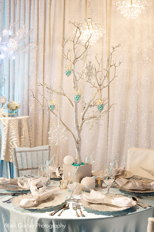 "Manzanita Tree Silver Glitter Centerpiece 48"""