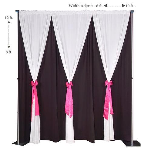 Pipe and Drape Double Drape Backdrop Kit 8-12' Tall