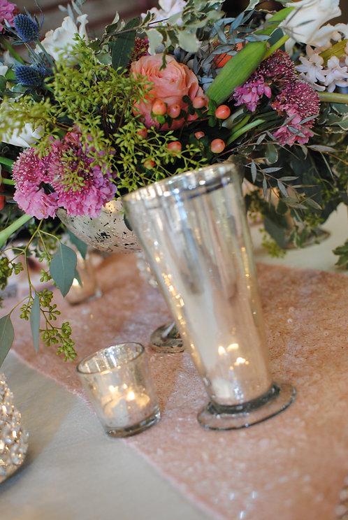 Silver Mercury Glass Candle Holder Vase