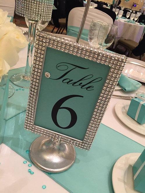 Silver Rhinestone Table Frames