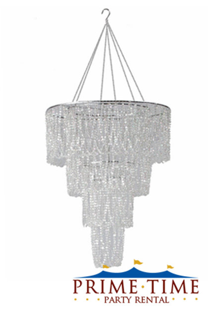 Iridescent Diamond Beaded Tiered Chandelier