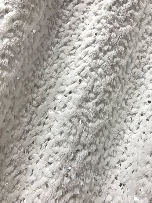 White Fur with Sequins Specialty Drape Panel 12'