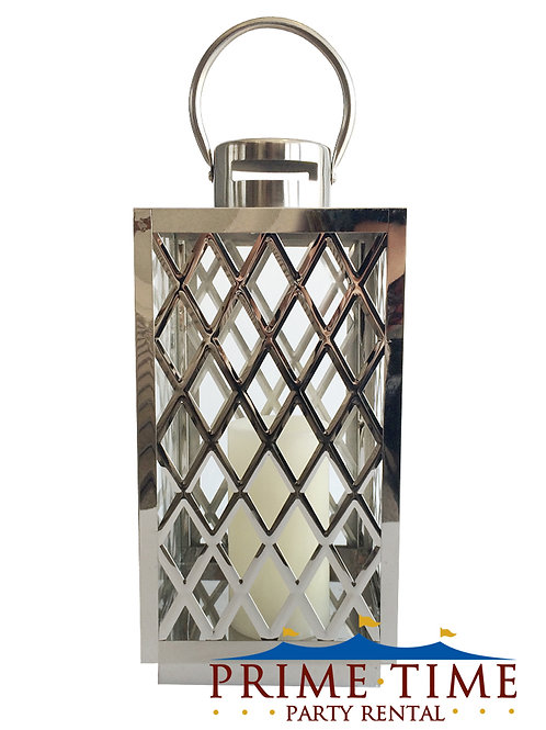 Chrome Lattice Lantern with Battery Candle