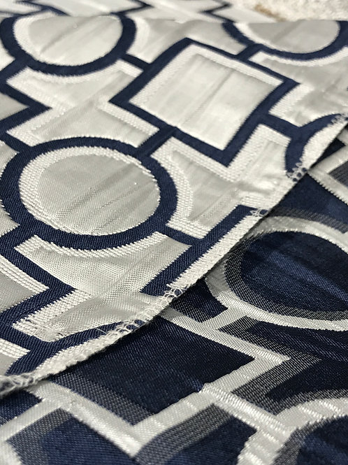 Metropolis Navy and White Geometic Reversible Linens
