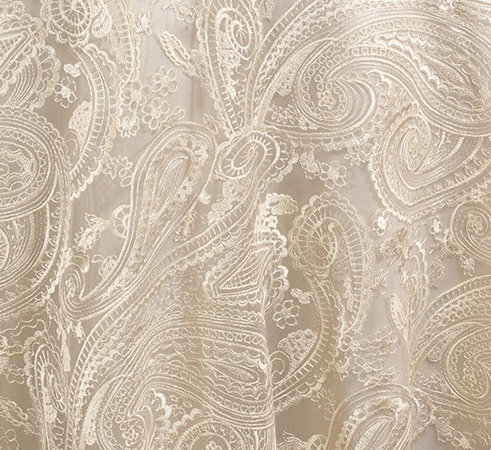 "Paisley Lace Ivory Linen 90"" square"