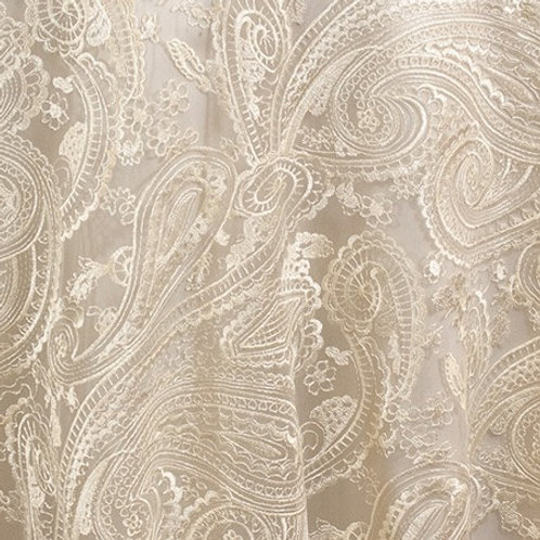 "Paisley Lace Ivory Linen 90"" square"