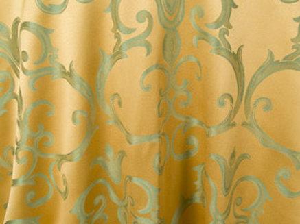 Chopin Gold with Sage Damask Pattern