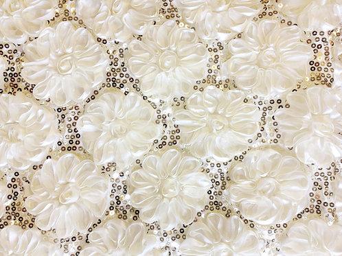 Shiny Rose Petals Ivory Linens