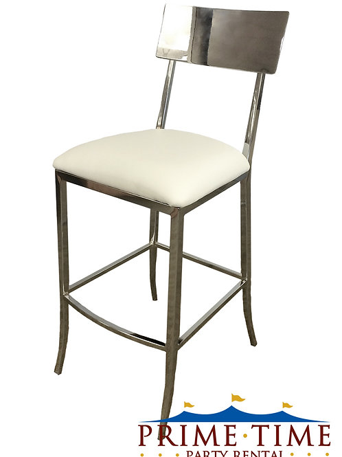 Brooklyn Chrom and White Barstool