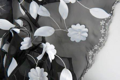 Black and White Sheer Ivy Leaves Overlay 90 s