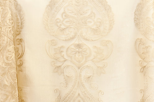 Renaissance Florence Ivory Sheer Embroidered Linens