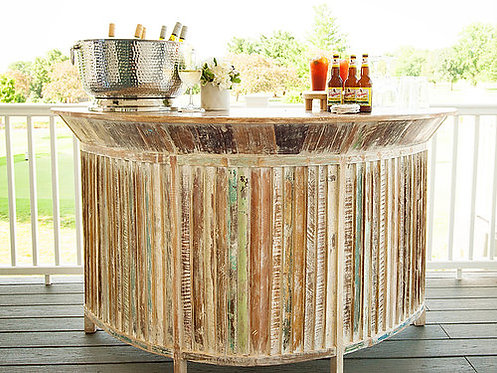 Key Largo Wood Planked Curved Portable Bar