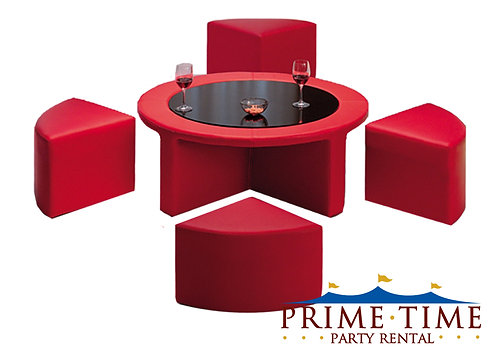 Circle Lounge Ottoman and Stool Set Red