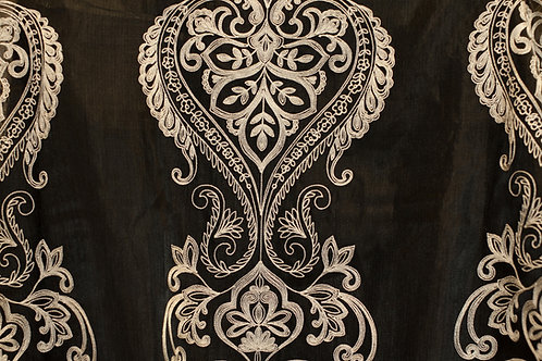 Renaissance Florence Black Sheer Embroidered Linen