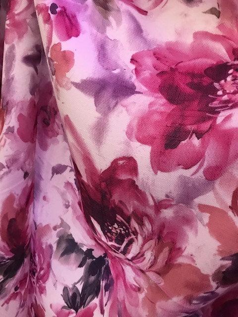 Renior Raspberry Floral Print Linen