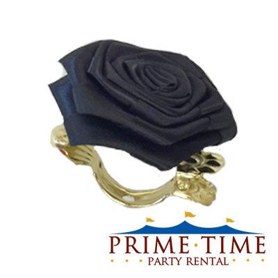 Black Rose Flower Clip