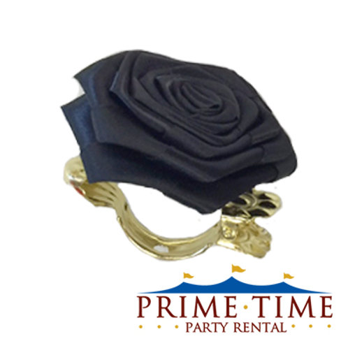 Black Rose Flower Clip